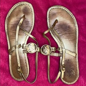 Gold Tory sandals